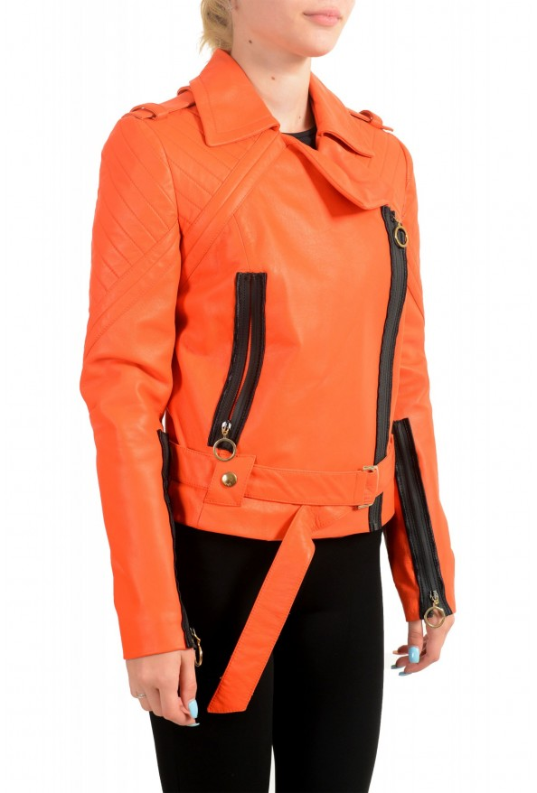 Just Cavalli Women's Bright Orange 100% Leather Bomber Jacket : Picture 2