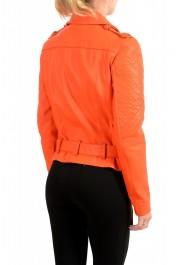 Just Cavalli Women's Bright Orange 100% Leather Bomber Jacket : Picture 3