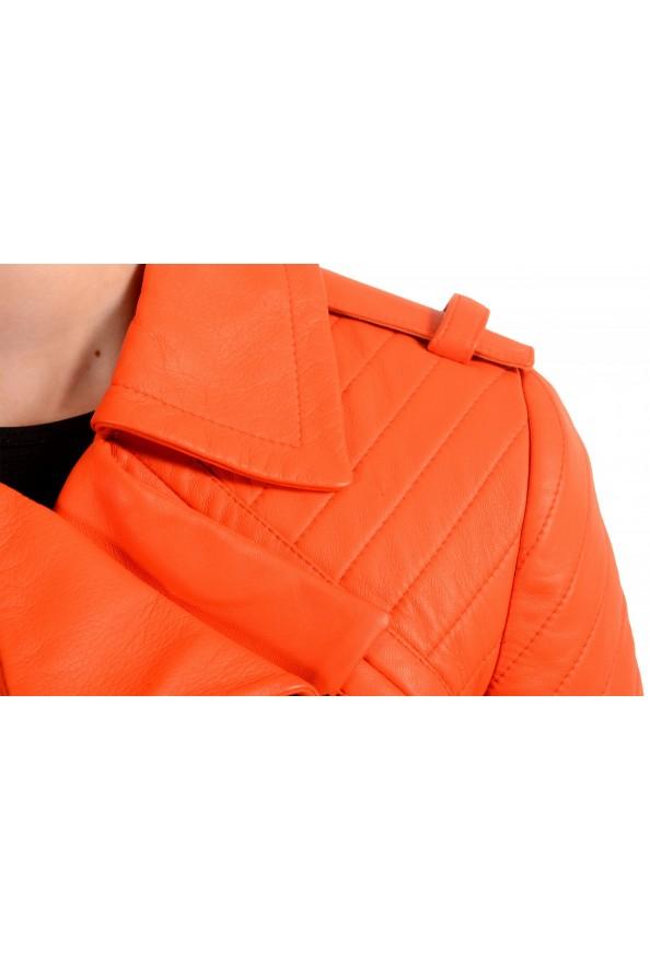 Just Cavalli Women's Bright Orange 100% Leather Bomber Jacket : Picture 4