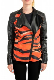 Just Cavalli Women's Multi-Color 100% Leather Bomber Jacket