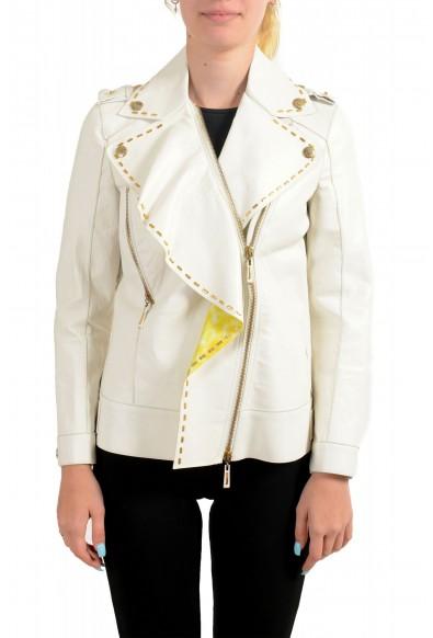 Just Cavalli Women's Ivory 100% Leather Zip Up Blazer Jacket