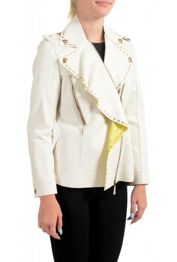 Just Cavalli Women's Ivory 100% Leather Zip Up Blazer Jacket : Picture 2