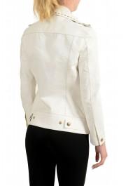 Just Cavalli Women's Ivory 100% Leather Zip Up Blazer Jacket : Picture 3