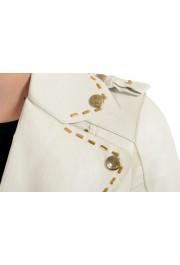 Just Cavalli Women's Ivory 100% Leather Zip Up Blazer Jacket : Picture 4