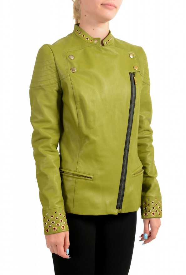 Just Cavalli Women's Olive Green 100% Leather Bomber Jacket : Picture 2