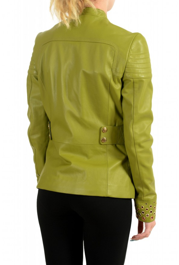 Just Cavalli Women's Olive Green 100% Leather Bomber Jacket : Picture 3
