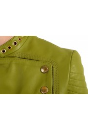 Just Cavalli Women's Olive Green 100% Leather Bomber Jacket : Picture 4