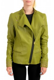 Just Cavalli Women's Olive Green 100% Leather Bomber Jacket : Picture 5