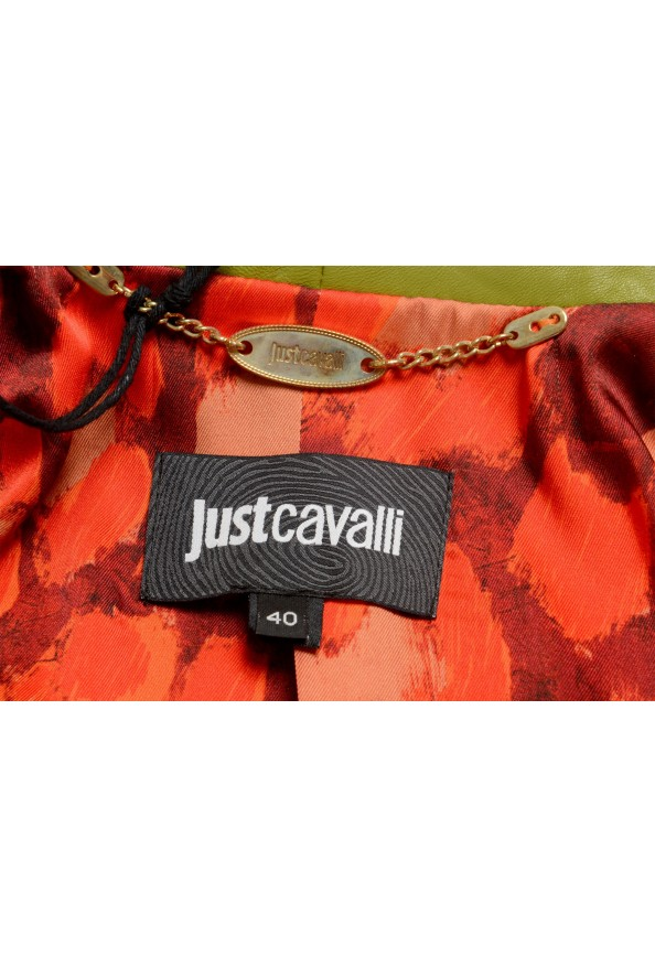 Just Cavalli Women's Olive Green 100% Leather Bomber Jacket : Picture 6