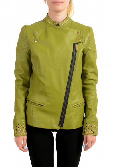 Just Cavalli Women's Olive Green 100% Leather Bomber Jacket