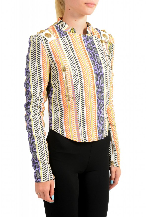Just Cavalli Women's Multi-Color Striped Full Zip Bomber Jacket: Picture 2