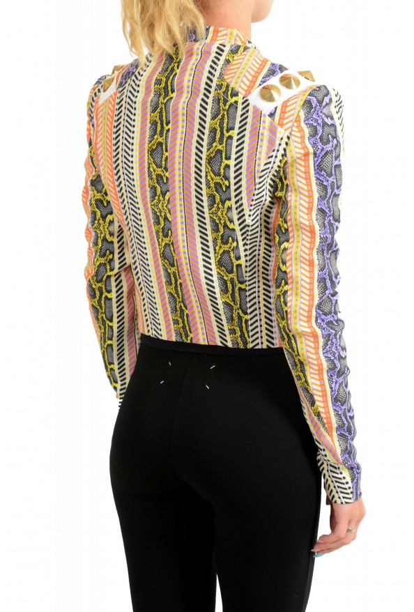 Just Cavalli Women's Multi-Color Striped Full Zip Bomber Jacket: Picture 3