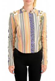 Just Cavalli Women's Multi-Color Striped Full Zip Bomber Jacket