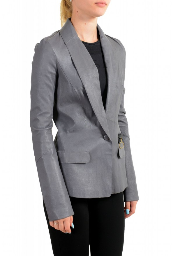 Just Cavalli Women's Gray 100% Leather One Button Blazer Jacket : Picture 2