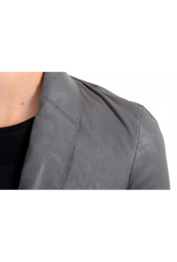 Just Cavalli Women's Gray 100% Leather One Button Blazer Jacket : Picture 4