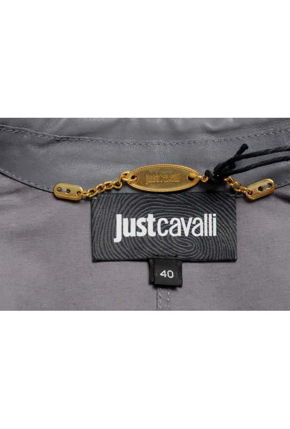 Just Cavalli Women's Gray 100% Leather One Button Blazer Jacket : Picture 5