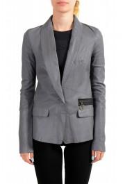 Just Cavalli Women's Gray 100% Leather One Button Blazer Jacket