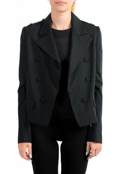 Just Cavalli Women's Black Wool Striped Buttonless Blazer Jacket