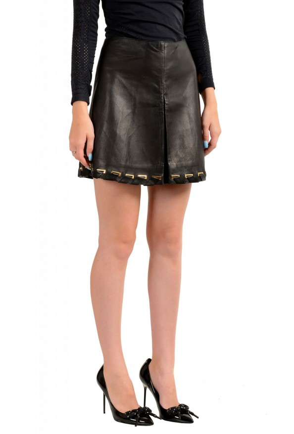 Just Cavalli Women's Black 100% Leather A-Line Mini Skirt : Picture 2