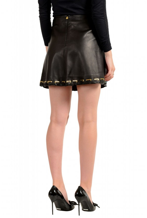 Just Cavalli Women's Black 100% Leather A-Line Mini Skirt : Picture 3