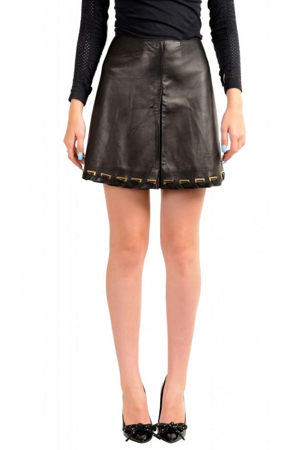 Just Cavalli Women's Black 100% Leather A-Line Mini Skirt