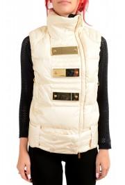 Just Cavalli Women's Ivory Down Lightweight Sleeveless Parka Vest