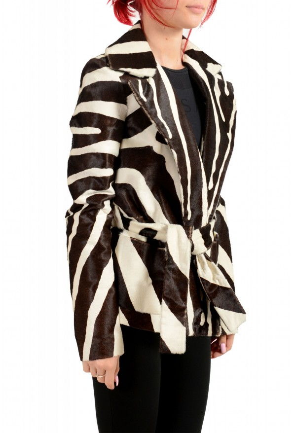 Dsquared2 Women's Multi-Color Pony Hair Leather Belted Coat Blazer : Picture 2