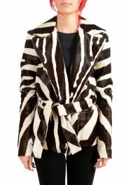 Dsquared2 Women's Multi-Color Pony Hair Leather Belted Coat Blazer