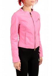 Dsquared2 Women's Pink 100% Leather Full Zip Bomber Jacket: Picture 2