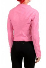 Dsquared2 Women's Pink 100% Leather Full Zip Bomber Jacket: Picture 3