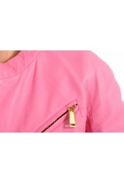 Dsquared2 Women's Pink 100% Leather Full Zip Bomber Jacket: Picture 4