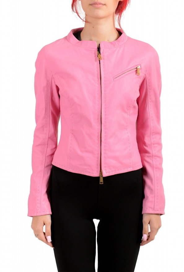 Dsquared2 Women's Pink 100% Leather Full Zip Bomber Jacket