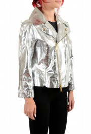 Dsquared2 Women's Silver 100% Leather Full Zip Bomber Jacket : Picture 2