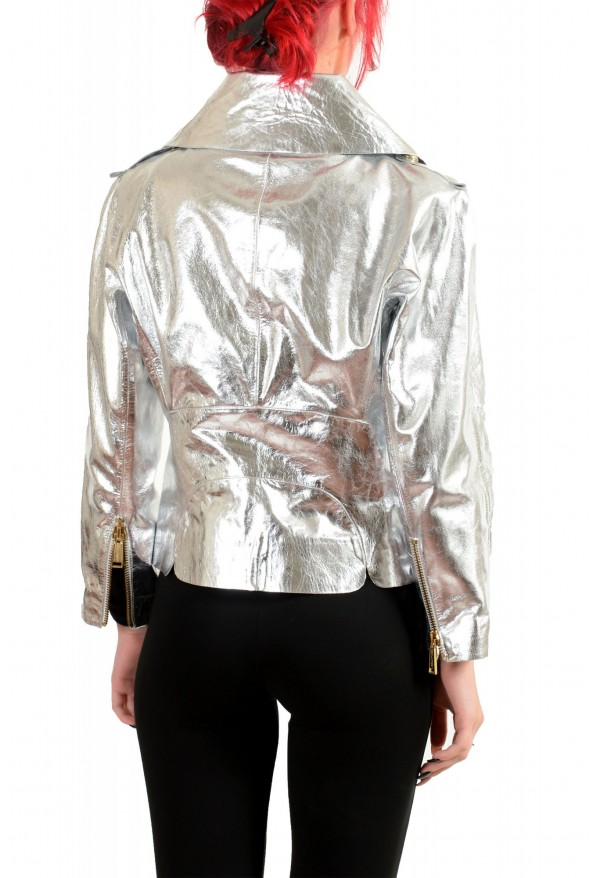 Dsquared2 Women's Silver 100% Leather Full Zip Bomber Jacket : Picture 3