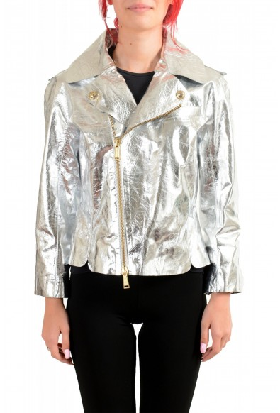 Dsquared2 Women's Silver 100% Leather Full Zip Bomber Jacket