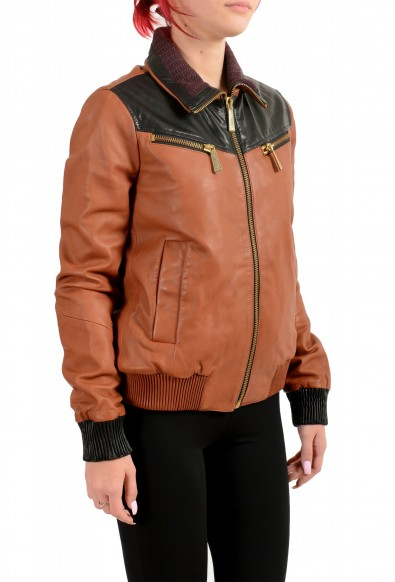 Just Cavalli Women's 100% Leather Full Zip Bomber Jacket : Picture 2