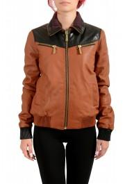 Just Cavalli Women's 100% Leather Full Zip Bomber Jacket