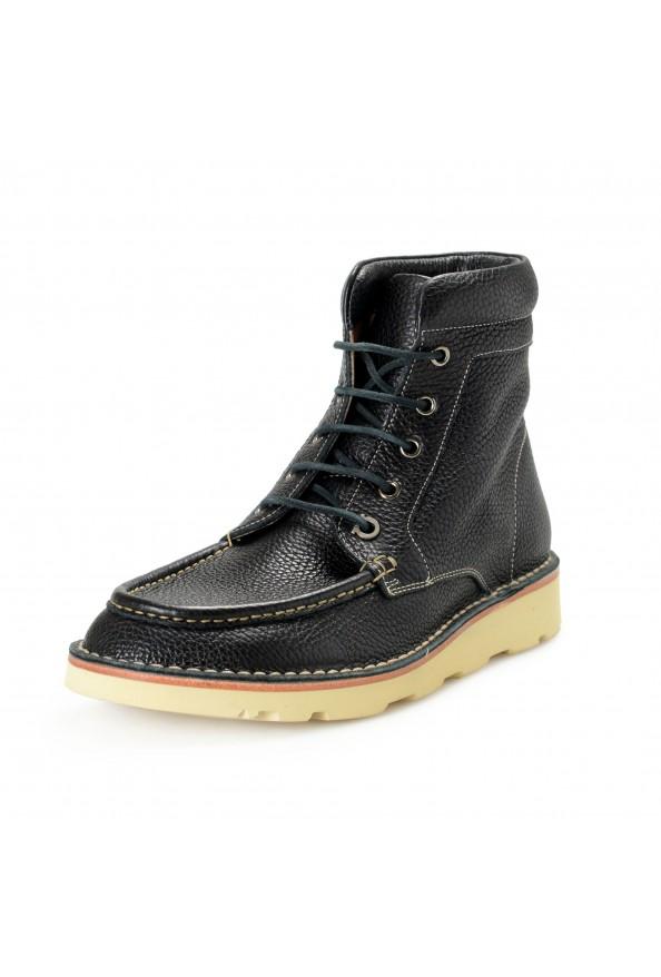 """Salvatore Ferragamo Men's """"SEVEN 2"""" Black Pebbled Leather Ankle Boots Shoes"""