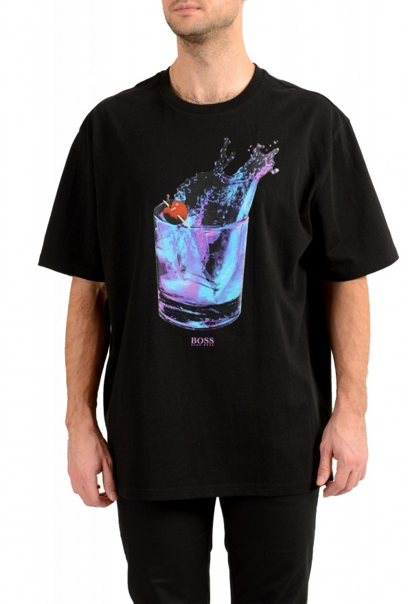 """Hugo Boss Men's """"Tempo2"""" Black Relaxed Fit Graphic Crewneck T-Shirt"""