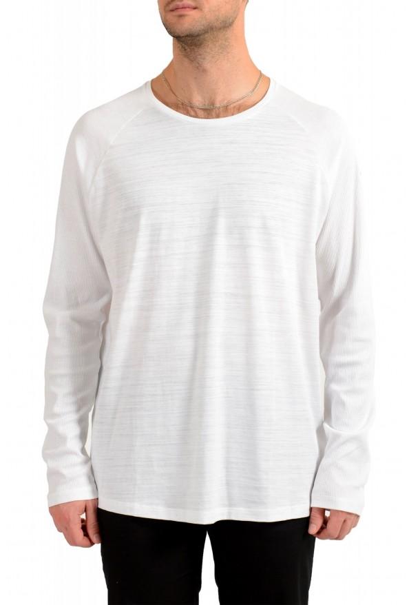 """Hugo Boss Men's """"Terell 50"""" White Crewneck Long Sleeve T-Shirt"""
