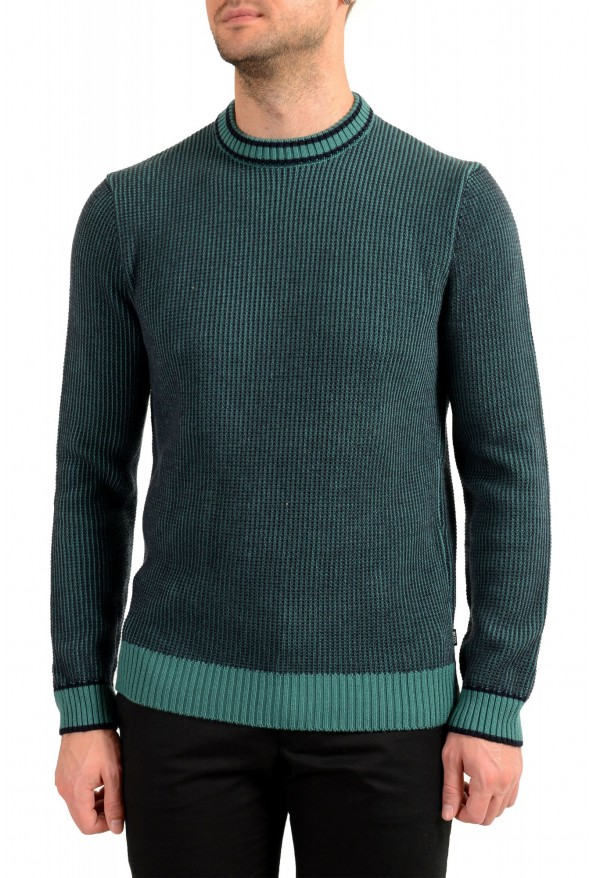 "Hugo Boss ""Denotti"" Men's Green Wool Crewneck Pullover Sweater"