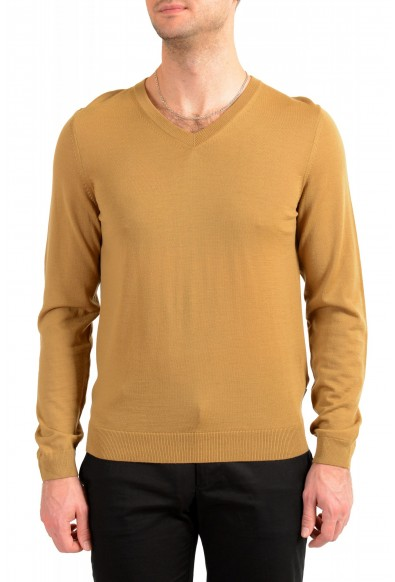 """Hugo Boss """"Melba-P"""" Men's Brown V-Neck 100% Wool Pullover Sweater"""