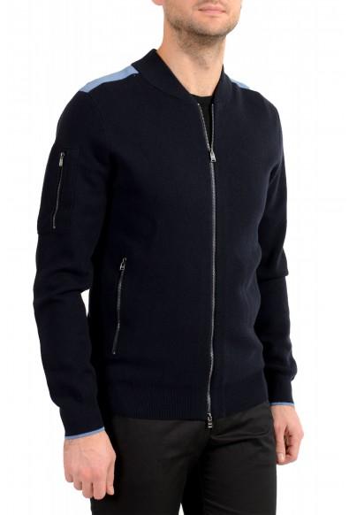 "Hugo Boss ""Paron"" Men's Blue Wool Full Zip Cardigan Sweater: Picture 2"
