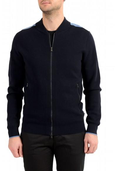 "Hugo Boss ""Paron"" Men's Blue Wool Full Zip Cardigan Sweater"