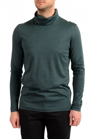 "Hugo Boss ""T-Tustin 06"" Men's Silk Green Turtleneck Pullover Sweater"