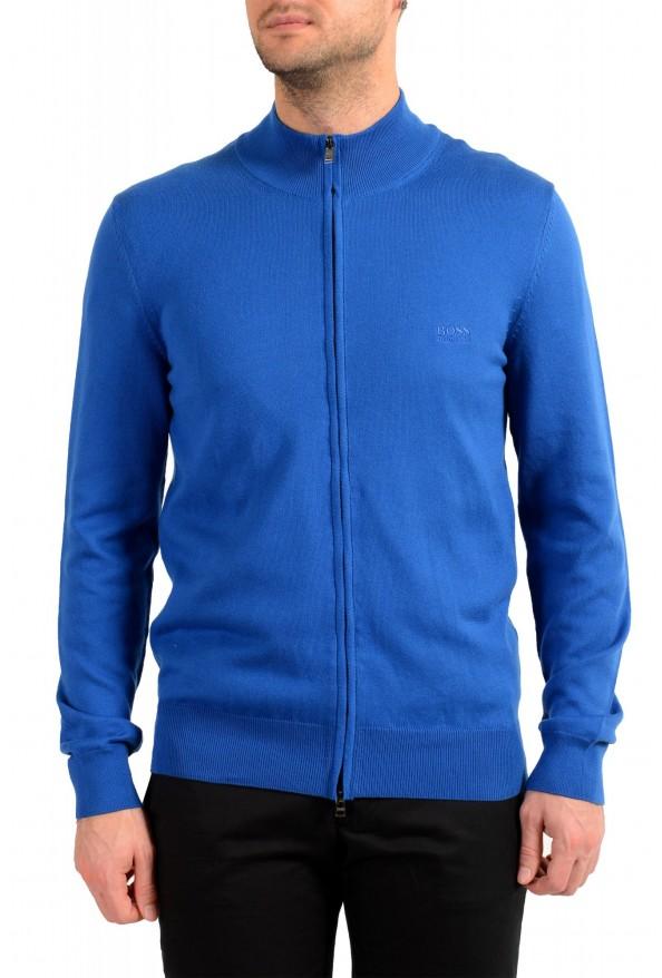 """Hugo Boss """"Palano-L"""" Men's Bright Blue Full Zip Cardigan Sweater"""