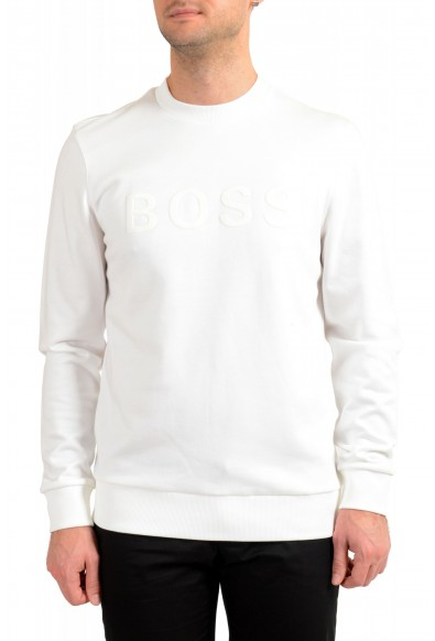 "Hugo Boss ""Stadler 41"" Men's White Crewneck Sweatshirt Sweater"
