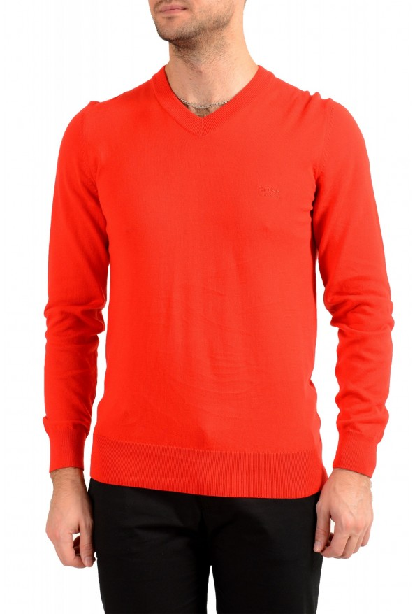 "Hugo Boss ""Pacello-L"" Men's Red V-Neck Pullover Sweater"