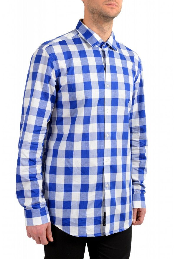 "Hugo Boss Men's ""Ismo"" Slim Fit Linen Plaid Long Sleeve Dress Shirt: Picture 2"