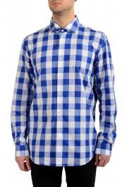 "Hugo Boss Men's ""Ismo"" Slim Fit Linen Plaid Long Sleeve Dress Shirt"